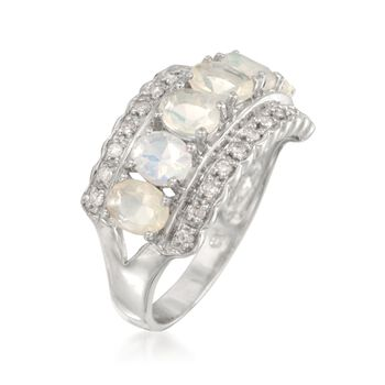 Opal and .18 ct. t.w. Diamond Ring in Sterling Silver, , default