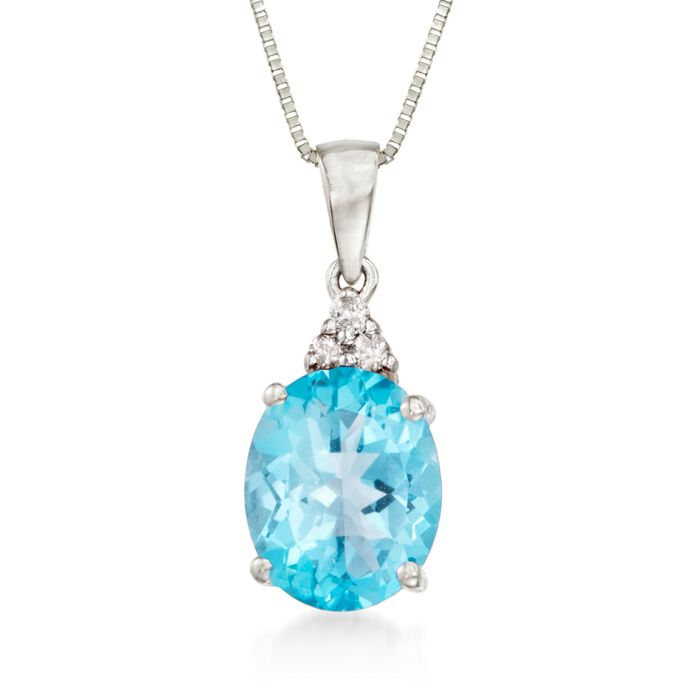 """2.60 Carat Topaz Necklace With Diamond Accents in 14kt White Gold. 18"""", , default"""