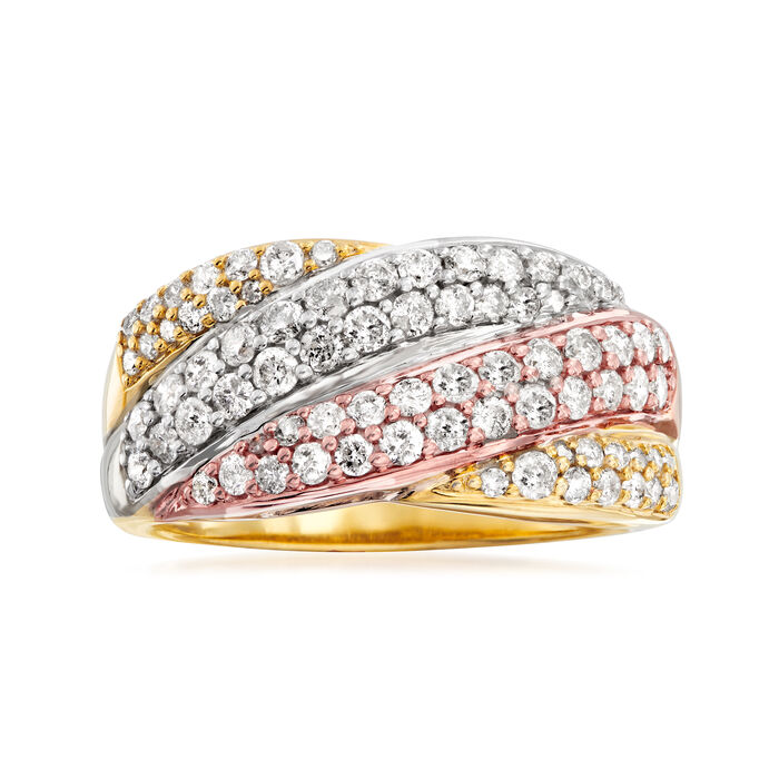 1.00 ct. t.w. Diamond Wavy Crisscross Ring in Sterling Silver and 18kt Multitone Gold Over Sterling