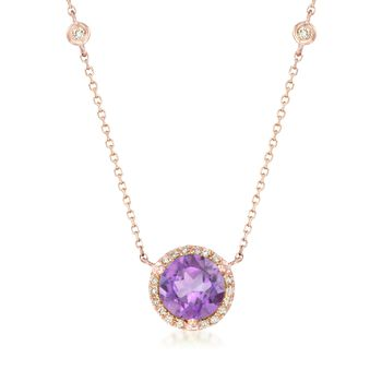 "2.00 Carat Amethyst and .19 ct. t.w. Diamond Necklace in 14kt Rose Gold. 17"", , default"