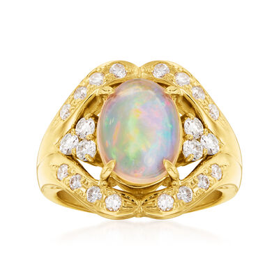 C. 1990 Vintage Opal and .72 ct. t.w. Diamond Ring in 18kt Yellow Gold