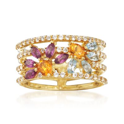 2.70 ct. t.w. Multi-Stone Open Space Floral Ring in 18kt Gold Over Sterling, , default