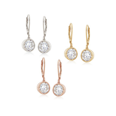 4.00 ct. t.w. CZ Jewelry Set: Three Pairs of Bezel Set CZ Earrings in Tri-Colored Sterling Silver , , default