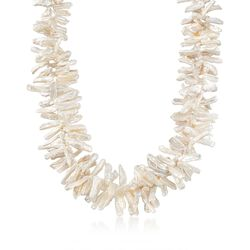 """Cultured Biwa Pearl Necklace With Sterling Silver. 19"""", , default"""