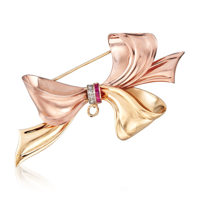 C. 1940 Vintage .10 ct. t.w. Synthetic Ruby and Diamond-Accented Bow Pin/Pendant in 14kt Two-Tone Gold