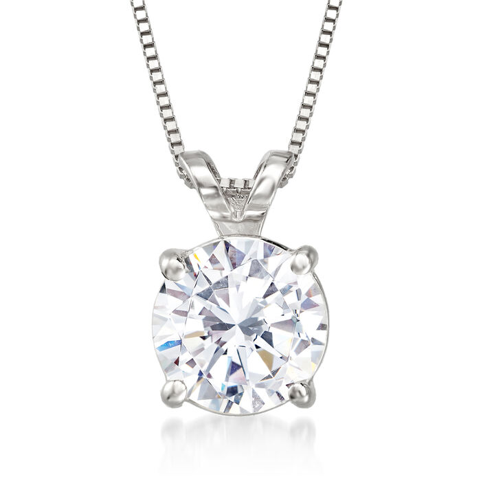 1.20 Carat Diamond Solitaire Pendant Necklace in 14kt White Gold