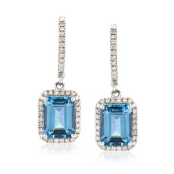 3.50 ct. t.w. London Blue Topaz and .26 ct. t.w. Diamond Drop Earrings in 14kt White Gold , , default