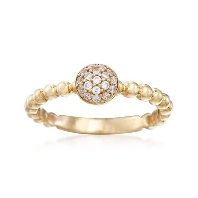.10 ct. t.w. Pave CZ Beaded Ring in 14kt Yellow Gold, , default