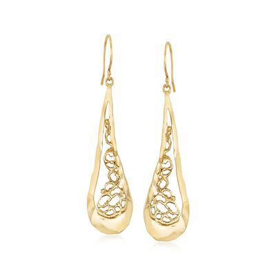 14kt Yellow Gold Filigree Teardrop Earrings, , default
