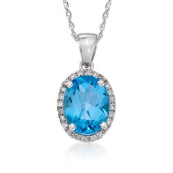 "2.00 Carat Blue Topaz Pendant Necklace With Diamonds in 14kt White Gold. 18"", , default"
