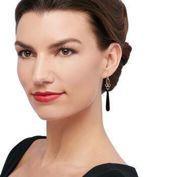 Long Teardrop Black Onyx Drop Earrings in 14kt Yellow Gold, , default