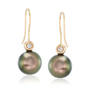 9-10mm Black Cultured Tahitian Pearl Drop Earrings With Diamond Accents in 18kt Yellow Gold, , default