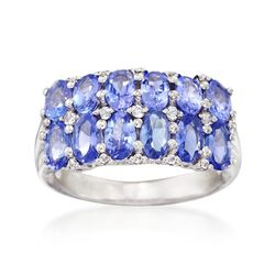 3.00 ct. t.w. Tanzanite and .15 ct. t.w. White Topaz Ring in Sterling Silver, , default