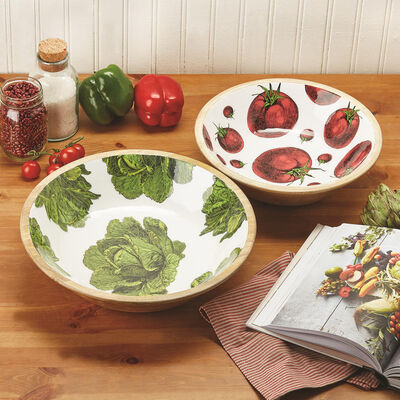 """Farm to Table"" Set of 2 Lettuce and Tomato Wood Salad Bowls , , default"