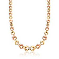 "C. 1980 Vintage .30 ct. t.w. Diamond Link Necklace in 18kt Tri-Colored Gold. 17"", , default"