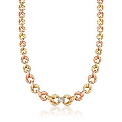 C. 1980 Vintage .30 ct. t.w. Diamond Link Necklace in 18kt Tri-Colored Gold, , default
