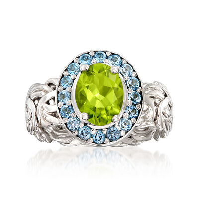 1.70 Carat Peridot and .60 ct. t.w. Sky Blue Topaz Byzantine Ring in Sterling Silver, , default
