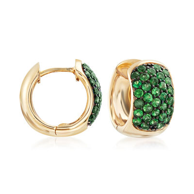 1.20 ct. t.w. Tsavorite Hoop Earrings in 14kt Yellow Gold with Black Rhodium, , default