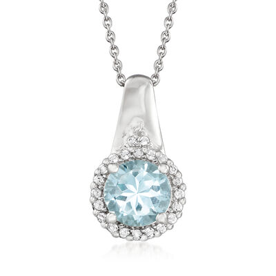 1.00 Carat Aquamarine and .20 ct. t.w. White Topaz Pendant Necklace in Sterling Silver