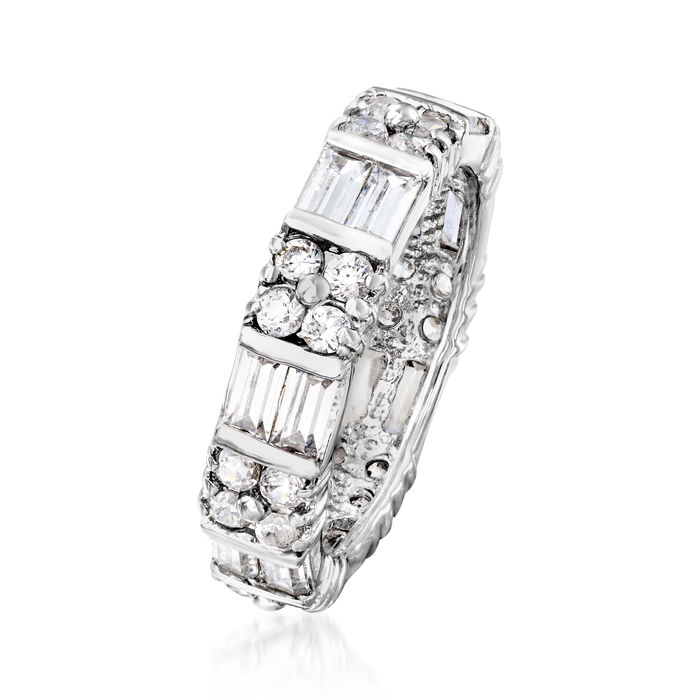 2.80 ct. t.w. Baguette and Round CZ Eternity Band in Sterling Silver
