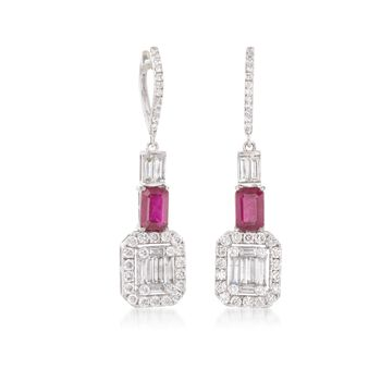 1.63 ct. t.w. Diamond and 1.40 ct. t.w. Ruby Drop Earrings in 18kt White Gold , , default
