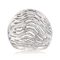 Italian Sterling Silver Wavy Dome Ring, , default