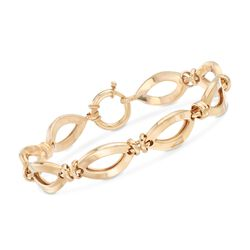 18kt Yellow Gold Over Sterling Silver Oval-Link Bracelet, , default