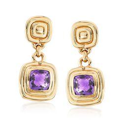 2.70 ct. t.w. Cushion-Cut Amethyst Drop Earrings in 14kt Yellow Gold , , default