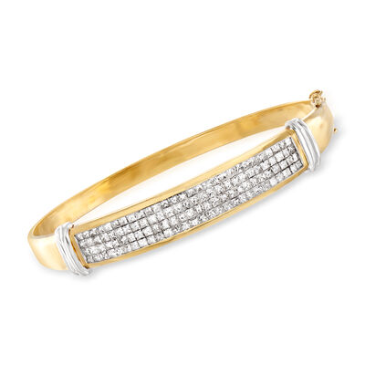 C. 1980 Vintage 5.60 ct. t.w. Diamond Bangle Bracelet in 14kt Two-Tone Gold
