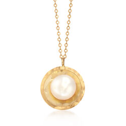 8mm Cultured Pearl and Hammered Disc Drop Necklace in 18kt Yellow Gold, , default