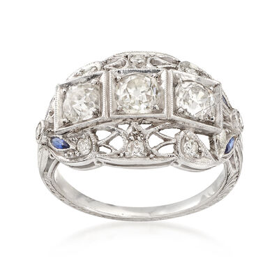 C. 1980 Vintage 1.20 ct. t.w. Diamond Ring with Simulated Sapphire Accents in Platinum , , default