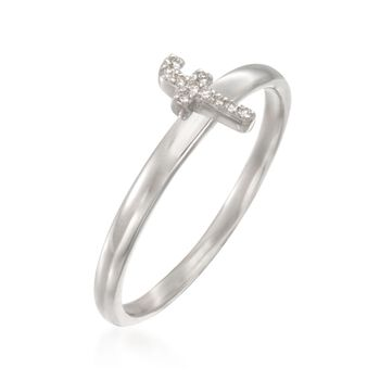 """Diamond Accent Mini Initial """"F"""" Ring in Sterling Silver, , default"""