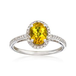 1.00 Carat Yellow Beryl and .18 ct. t.w. Diamond Ring in 14kt White Gold, , default