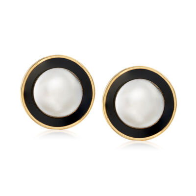 C. 1980 Vintage 14mm Mabe Pearl and 21mm Onyx Earrings in 14kt Yellow Gold, , default