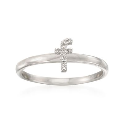 "Diamond Accent Mini Initial ""F"" Ring in Sterling Silver, , default"