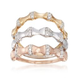 .42 ct. t.w. Diamond Jewelry Set: Three Bamboo Rings in 14kt Tri-Colored Gold, , default