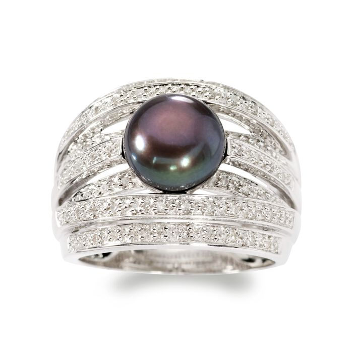 9mm Black Cultured Pearl and .20 ct. t.w. Diamond Highway Ring in Sterling Silver, , default