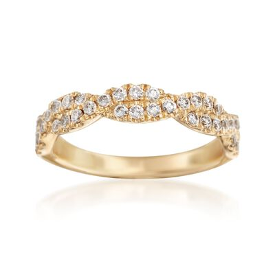 Henri Daussi .42 ct. t.w. Diamond Twisted Wedding Ring in 18kt Yellow Gold, , default