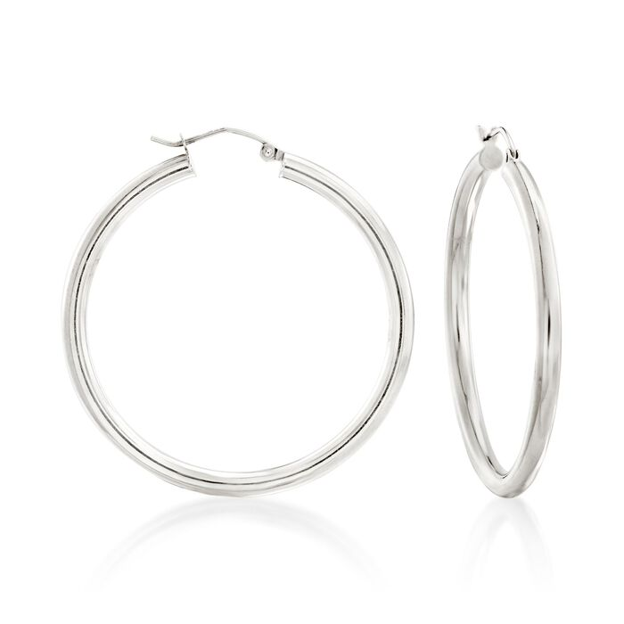 "3mm Sterling Silver Hoop Earrings. 1 5/8"", , default"