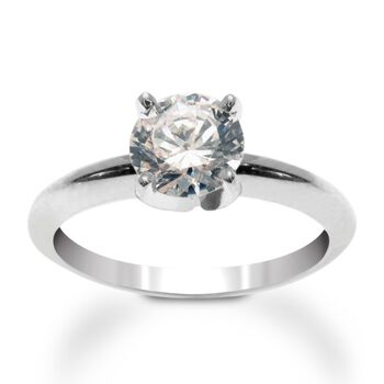 14kt White Gold Four-Prong Engagement Ring Setting, , default