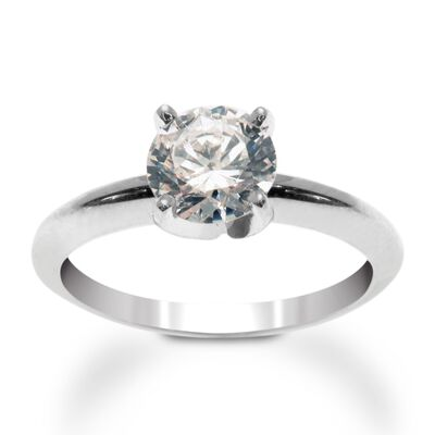 Platinum Four-Prong Engagement Ring Setting, , default