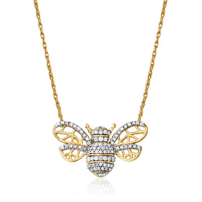 .25 ct. t.w. Diamond Bee Necklace in 18kt Gold Over Sterling, , default