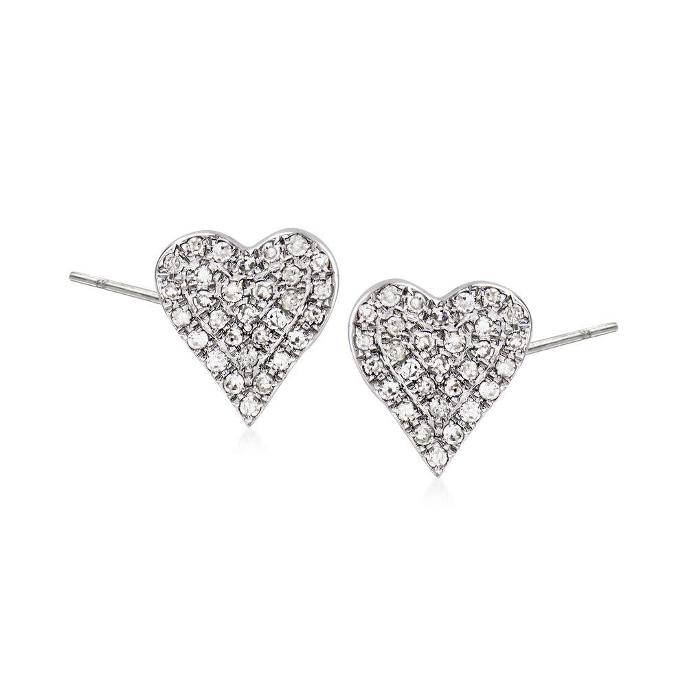 20 Ct T W Diamond Heart Earrings In 14kt White Gold Ross Simons
