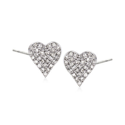 .20 ct. t.w. Diamond Heart Earrings in 14kt White Gold