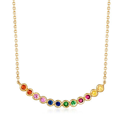 .60 ct. t.w. Multicolored Multi-Gem Necklace in 14kt Yellow Gold, , default