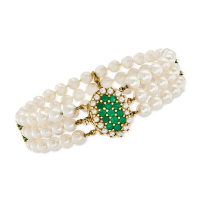 C. 1980 Vintage Cultured Pearl and 1.50 ct. t.w. Green Chalcedony Three-Strand Bracelet in 14kt Yellow Gold