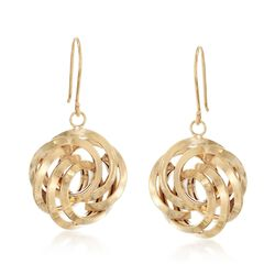 14kt Gold Over Sterling Silver Rosette Drop Earrings, , default
