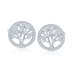 .60 ct. t.w. CZ Tree of Life Earrings in Sterling Silver, , default
