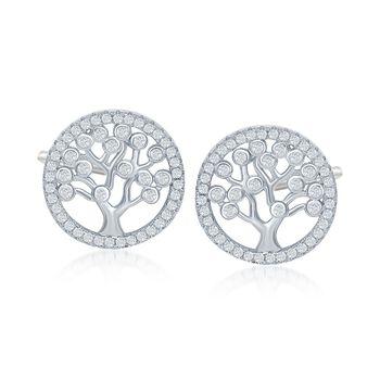 .60 ct. t.w. CZ Tree of Life Earrings in Sterling Silver, , default