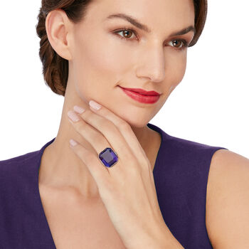 C. 1950 Vintage 31.00 Carat Amethyst and .50 ct. t.w. Diamond Ring in Platinum. Size 7, , default